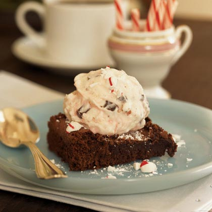 Peppermint Brownie à la Mode RecipeThis is a fun way to use all the candy canes that come your way this time of year. If you really like mint, substitute mint chocolate chip ice cream.