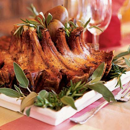 Maple and Calvados-Glazed Pork Crown Roast with Apple-Chestnut Puree