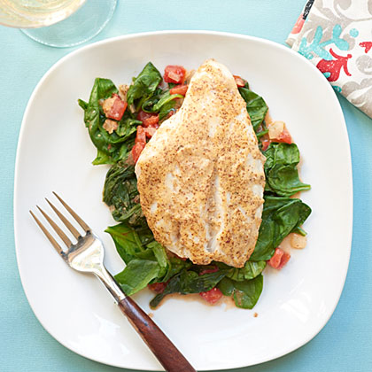 <p>Red Snapper over Sauteed Spinach and Tomatoes</p>