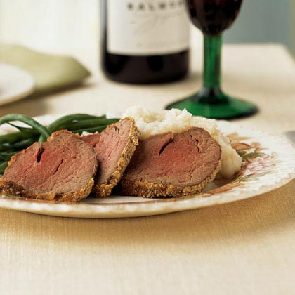 Horseradish-Mustard Beef Tenderloin RecipeOnce you bite into a piece of melt-in-your-mouth beef tenderloin, you know it's worth every penny. And because the meat is the star, it's simply seasoned with a tangy coating of horseradish, mustard, and breadcrumbs.