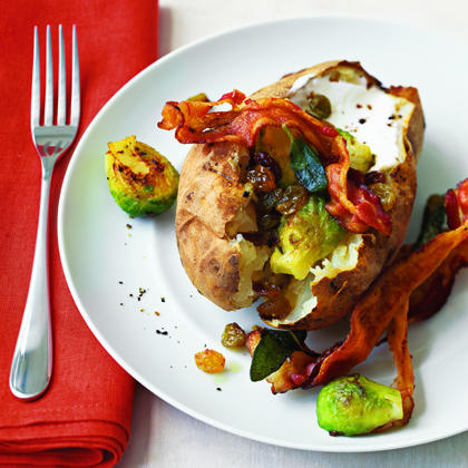 Baked Potatoes with Brussels Sprouts and BaconRecipe