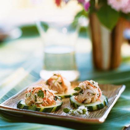 Crab Salad on Cucumber RoundsRecipe