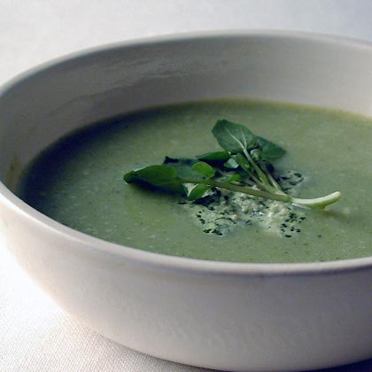 Zucchini-Buttermilk Soup with Watercress Pesto