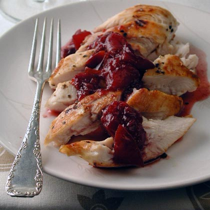 Grilled Chicken with Pinot-Plum Sauce Recipe