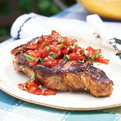 Rib-Eye Steaks with Tomato-Basil Relish
