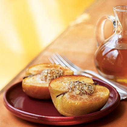 Almond-Stuffed Baked Apples with Caramel-Apple Sauce