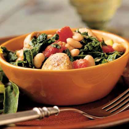 <p>White Bean and Sausage Ragout with Tomatoes, Kale, and Zucchini</p>