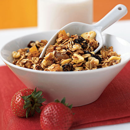 Three-Grain Breakfast Cereal with Walnuts and Dried Fruit RecipeIt's easy to add whole grains to your diet when you spoon into this sweet, crunchy breakfast cereal. The nuts add even more fiber as well as heart-healthy fat, and if you eat the cereal with low-fat milk, you'll get calcium as well.