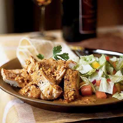 Mexican Chicken with Almond-Chile Cream Recipe