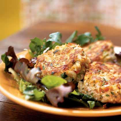 Crab Cakes on Mixed Greens with Peanut VinaigretteRecipe