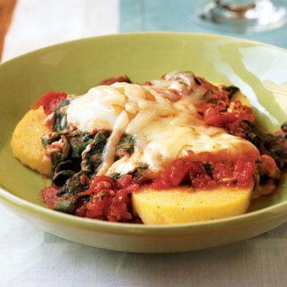 Italian Eggs over Spinach and Polenta