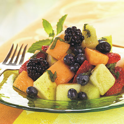Melon, Berry, and Pear Salad with Cayenne-Lemon-Mint Syrup Recipe