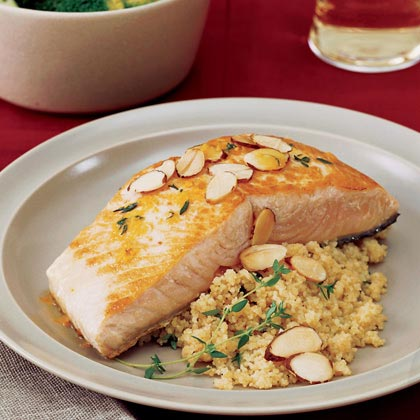 Orange-Seared Salmon with Almonds