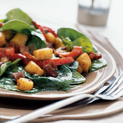 Scallop and Spinach Salad with Warm Dressing