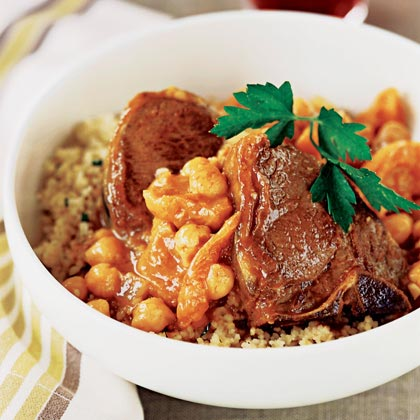 Moroccan Lamb Chops RecipeThis one-dish entrée takes just 30 minutes to prepare and requires minimal clean-up. Apricots add a hint of sweetness, while the garbanzos lend a hearty, nutty flavor.