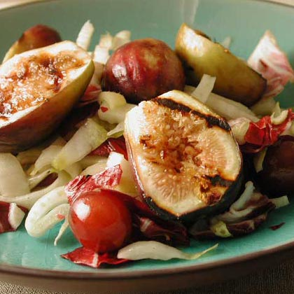 Warm Salad of Grilled Figs, Grapes, and Bitter GreensRecipe