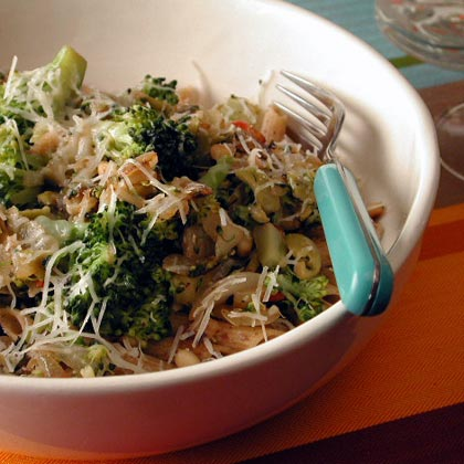 Whole Wheat Penne with Broccoli, Green Olives, and Pine Nuts