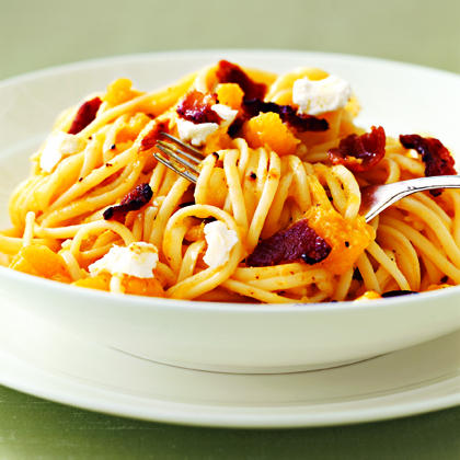 Linguine with Squash, Bacon, and Goat Cheese Recipe