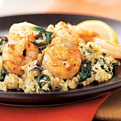 Lemon-Mint Bulgur Risotto with Garlic Shrimp
