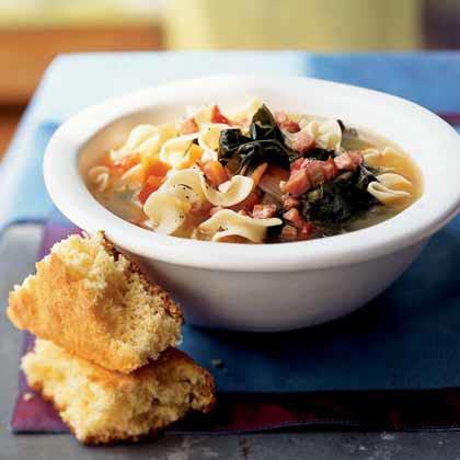 Ham, Collard Greens, and Egg Noodle Bowl