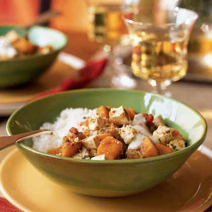 Sweet Potato and Cashew Korma over Coconut Rice