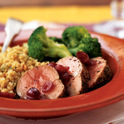 Pork tenderloin is a surprisingly easy dish to make and always comes off as impressive when sliced and plated. Nutty quinoa is an ideal foil for the pork's tangy cranberry sauce. Add some steamed broccoli for a flavorful, well-balanced meal. Best of all, this entire menu comes together in less than 45 minutes.Pork Tenderloin Tonight