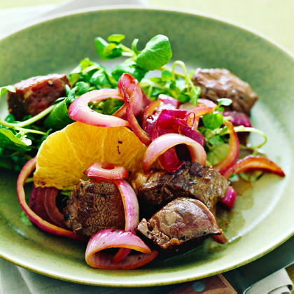 Seared Sirloin with Balsamic Red Onions, Watercress, and OrangesRecipe