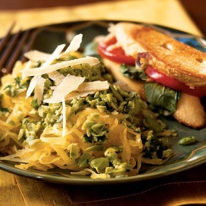 Spaghetti Squash with Edamame-Cilantro Pesto