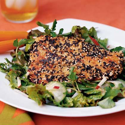 Sesame-crusted Mahi Mahi with Cucumber-Watercress SaladRecipe