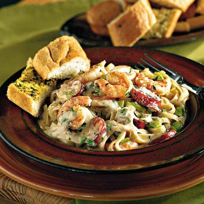 Cajun Shrimp and Andouille Alfredo Sauce Over PastaRecipe