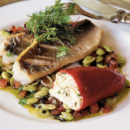 Speckled Trout with Crab-stuffed Piquillos, Edamame, and Truffle Vinaigrette Recipe