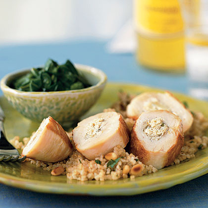 Chicken Breasts Stuffed with Artichokes, Lemon, and Goat Cheese