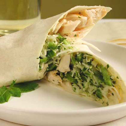 Chicken and Mint Coleslaw Wraps