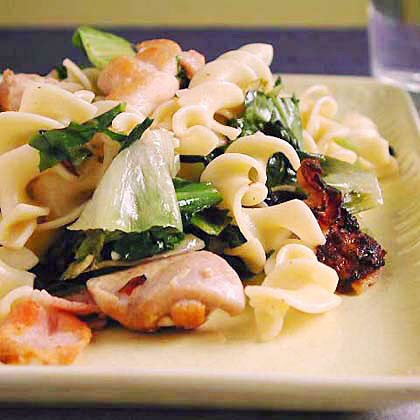 Egg Noodles with Chicken and Escarole Recipe