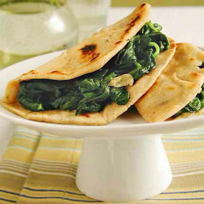 Piadini with Garlic Greens