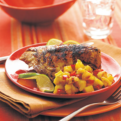 Rum-Marinated Chicken Breasts with Pineapple RelishRecipe