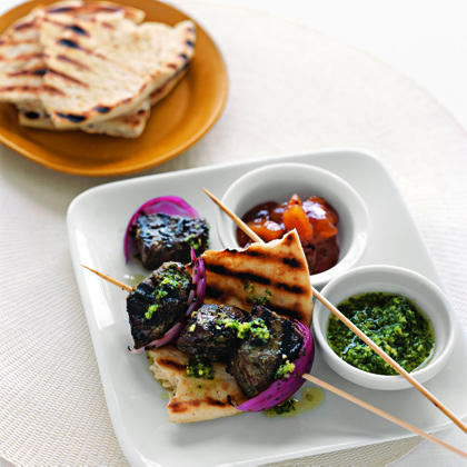 Indian-Style Beef Kebabs with Cilantro Sauce Recipe
