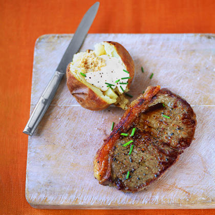 Sirloin Steak and Baked Potatoes