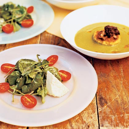 Tomato, Fresh Cheese, and Watercress Salad