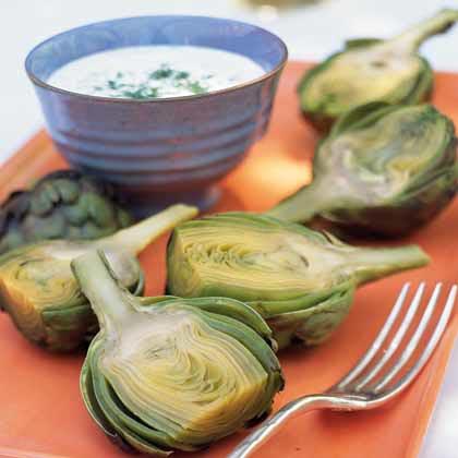 Baby Artichokes with Creamy Horseradish-Dill Dip