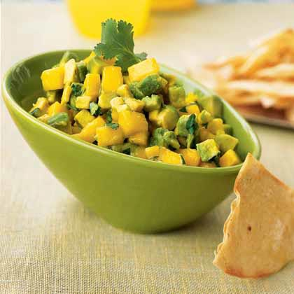 Avocado-Mango Salsa with Roasted Corn Chips Recipe | MyRecipes