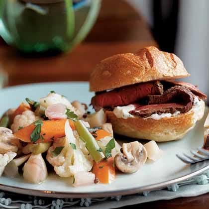 Cognac-Marinated Beef Tenderloin Sandwiches with Horseradish Cream