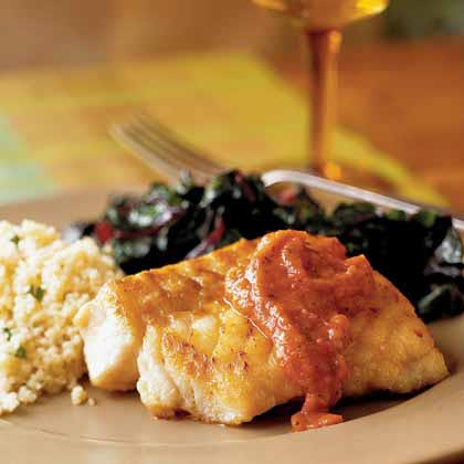 Pan-Seared Grouper with Roasted Tomato SauceRecipe