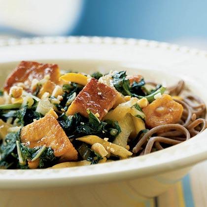 Stir-Fried Tofu and Spring Greens with Peanut Sauce