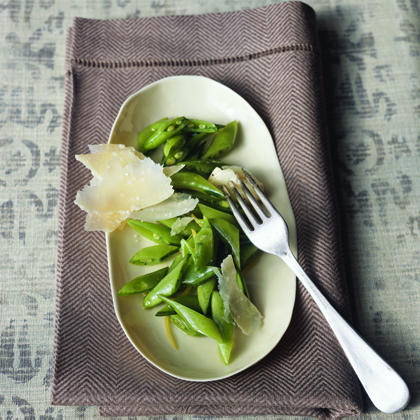 Sugar Snaps with Extra-Virgin Olive Oil and Shaved Parmigiano Recipe