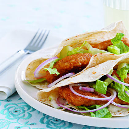Start with a package of frozen fish tenders for the super-easy, kid-friendly tacos.Fish Tacos Recipe