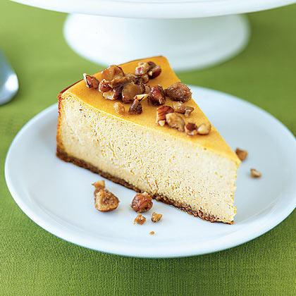 Pumpkin Cheesecake with Glazed Hazelnuts