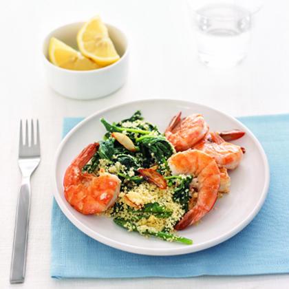Shrimp with Arugula Couscous