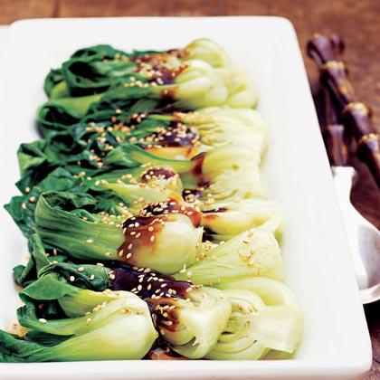 Pan-Steamed Asian Greens with Shiitake Sauce