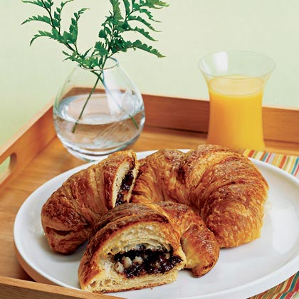 Jazz up bakery croissants for a special breakfast-in-bed surprise.Chocolate-Almond Croissants Recipe